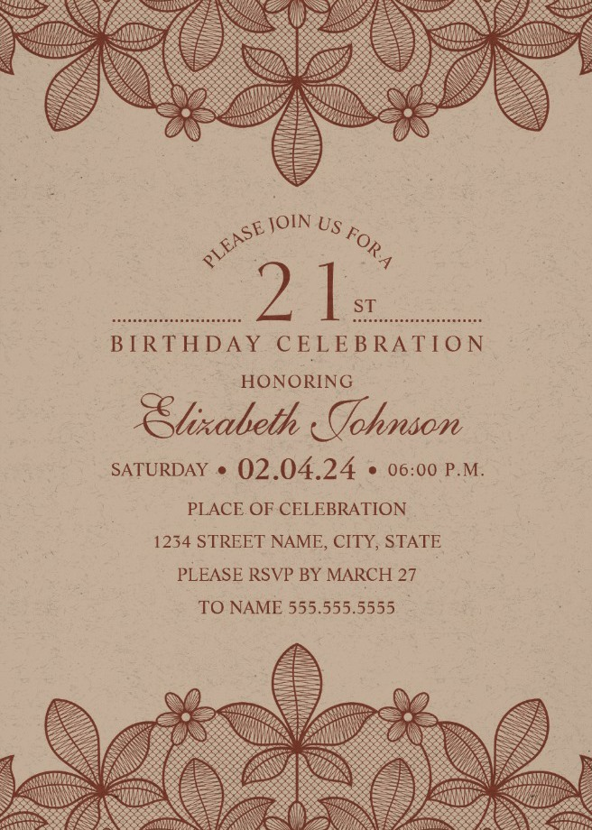Elegant Lace 21st Birthday Invitations - Creative Luxury Cards