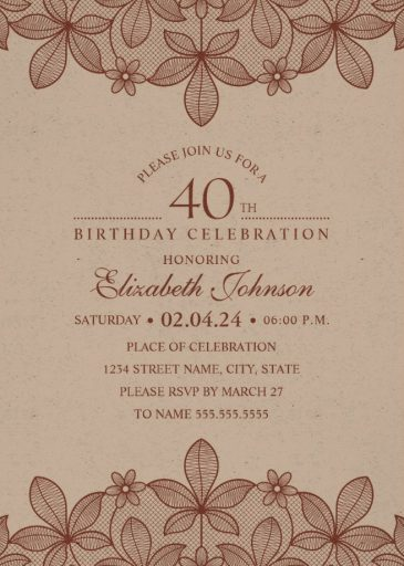 Elegant Lace 40th Birthday Invitations - Creative Luxury Cards