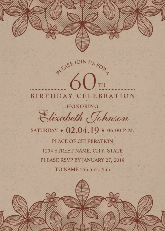 Elegant Lace 60th Birthday Invitations - Creative Luxury Cards
