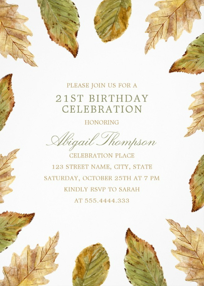 Fall Leaves 21st Birthday Invitations - Watercolor Frame Templates