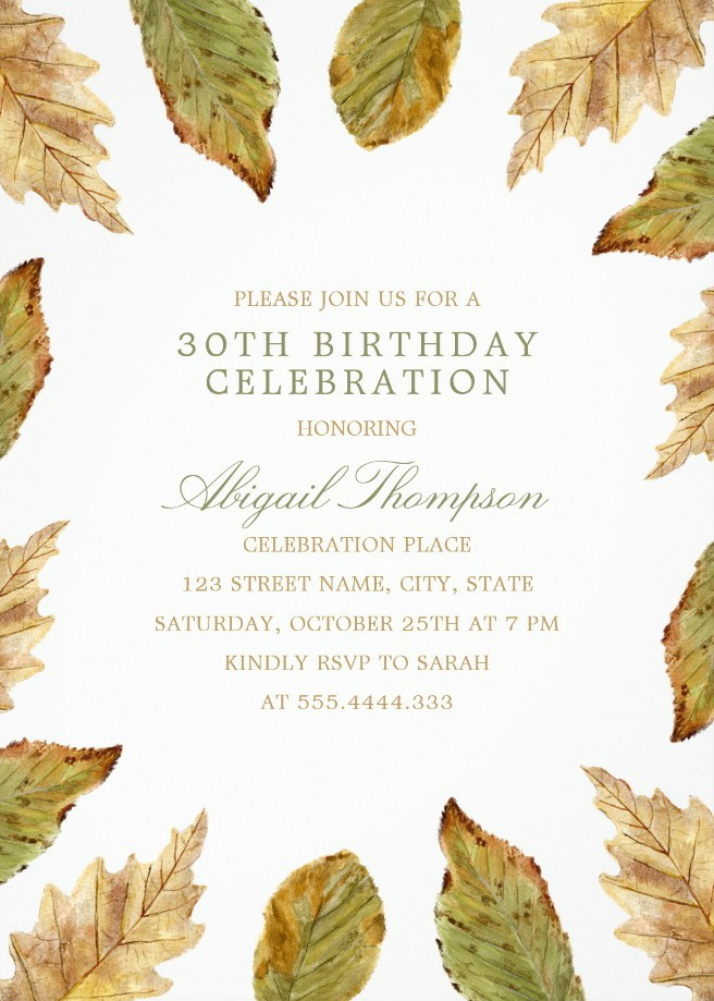 Fall Leaves 30th Birthday Invitations - Watercolor Frame Templates