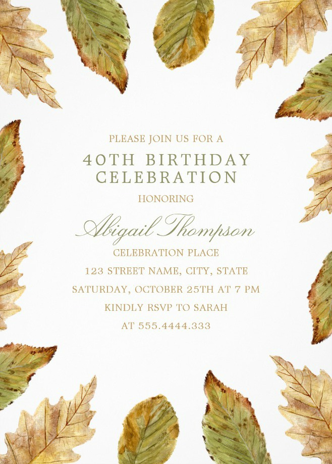 Fall Leaves 40th Birthday Invitations - Watercolor Frame Templates
