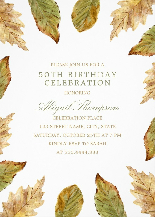 Fall Leaves 50th Birthday Invitations - Watercolor Frame Templates
