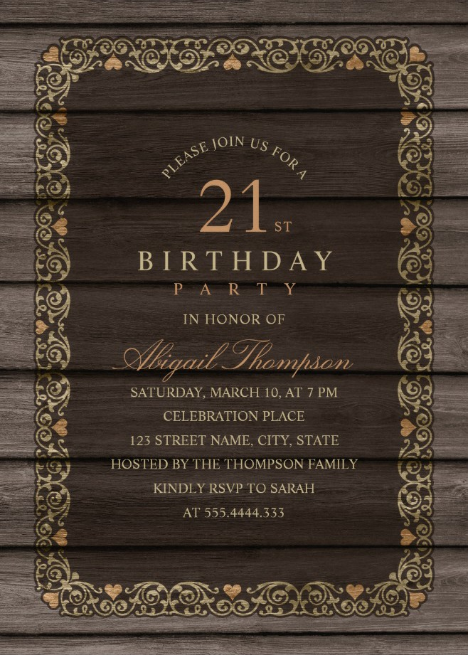 Fancy Wood 21st Birthday Invitations - Rustic Country Invitation Templates