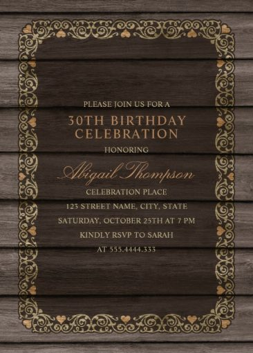 Fancy Wood 30th Birthday Invitations - Rustic Country Invitation Templates