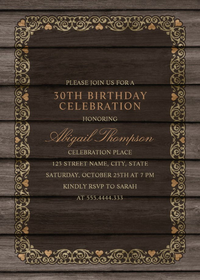 fancy wood 30th birthday invitations rustic country invitation