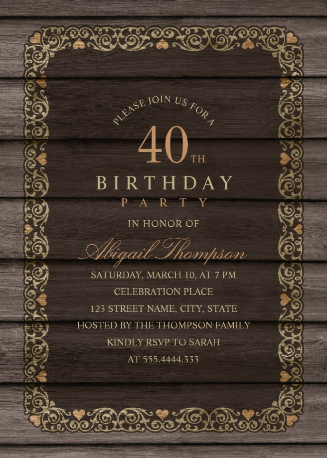 Fancy Wood 40th Birthday Invitations - Rustic Country Invitation ...