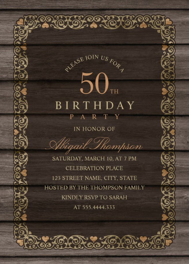 Fancy Wood 50th Birthday Invitations - Rustic Country Invitation Templates