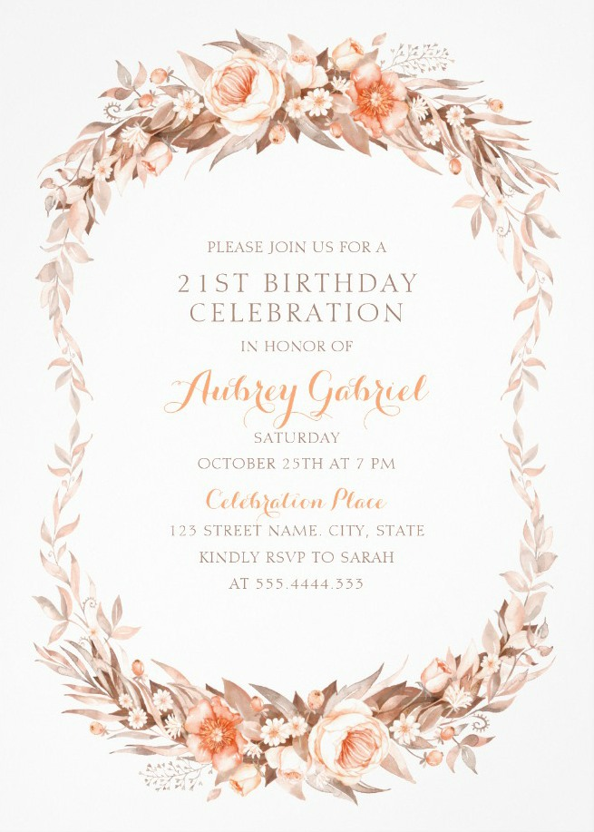 Chic 21st birthday invitations archives superdazzle custom floral adult 21st birthday invitations elegant fall flowers filmwisefo