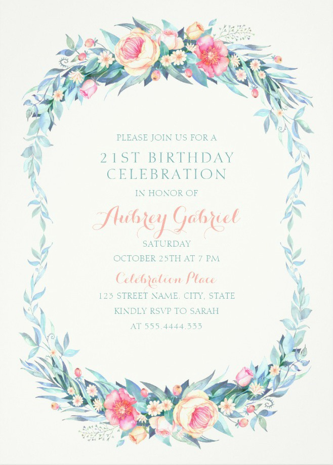 Floral Adult 21st Birthday Invitations - Elegant Spring Flowers