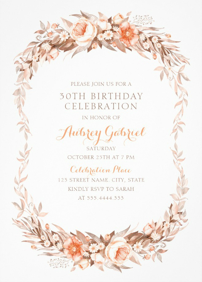 Floral Adult 30th Birthday Invitations - Elegant Fall Flowers Invitation Templates