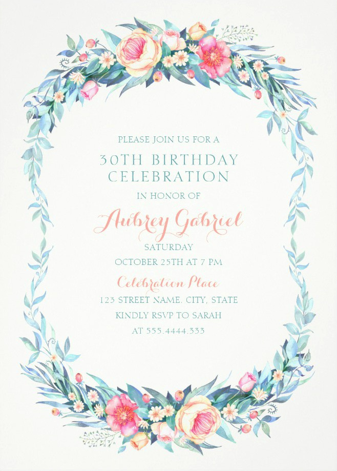 Floral Adult 30th Birthday Invitations - Elegant Spring Flowers