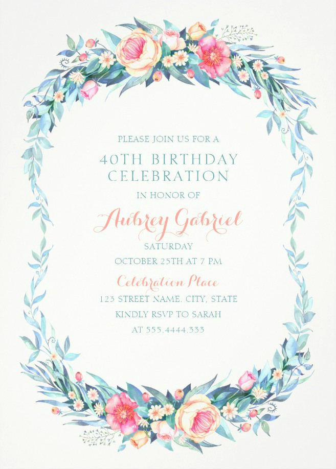 Floral Adult 40th Birthday Invitations - Elegant Spring Flowers
