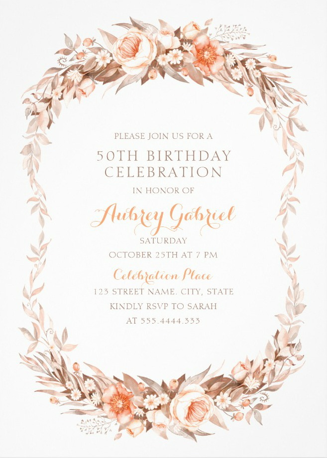 Floral Adult 50th Birthday Invitations - Elegant Fall Flowers Invitation Templates