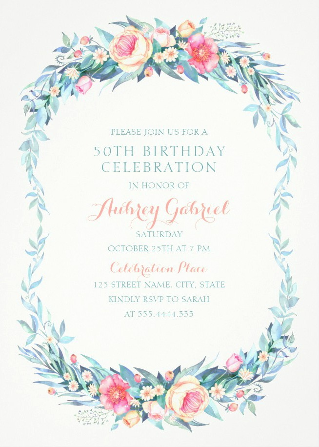Floral Adult 50th Birthday Invitations - Elegant Spring Flowers