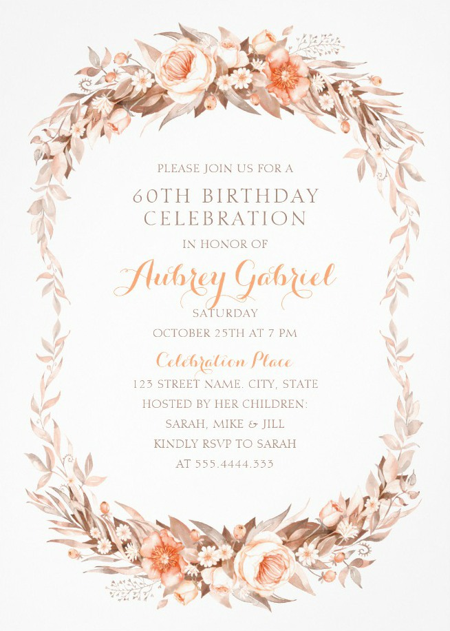Floral Adult 60th Birthday Invitations - Elegant Fall Flowers Invitation Templates