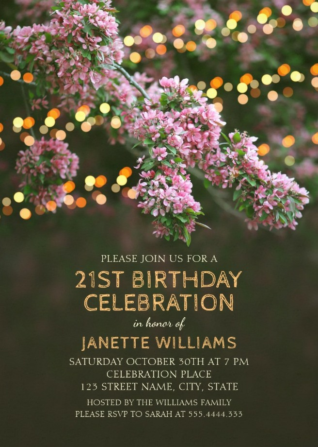 Garden Lights 21st Birthday Invitations - Tree Blossom Outdoor Party Invites