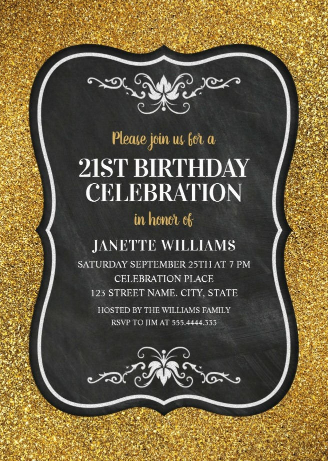 Glitter Adult 21st Birthday Party Invitations | Chalkboard Gold Invitation Templates
