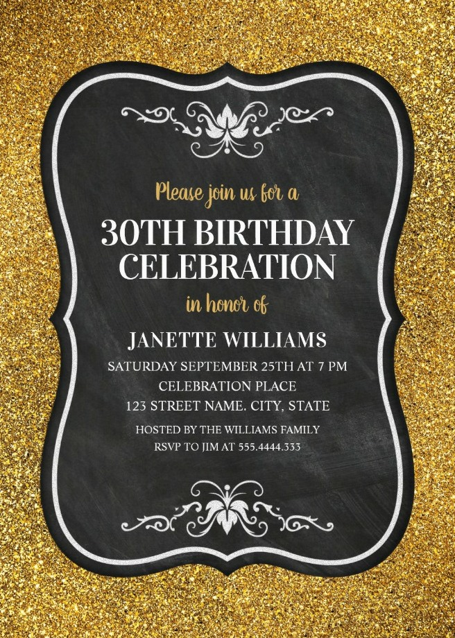 Glitter Adult 30th Birthday Party Invitations