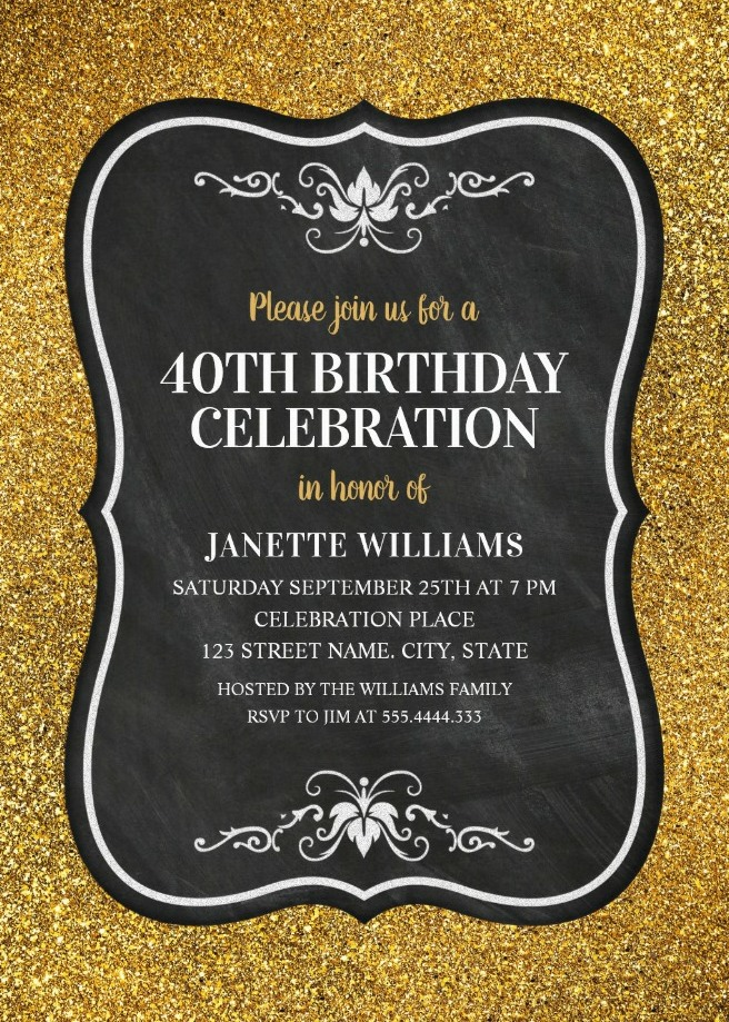 Glitter adult 40th birthday party invitations chalkboard gold glitter adult 40th birthday party invitations chalkboard gold invitation templates stopboris Images