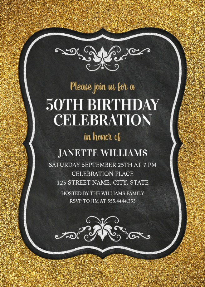 Glitter Adult 50th Birthday Party Invitations - Chalkboard Gold Invitation Templates