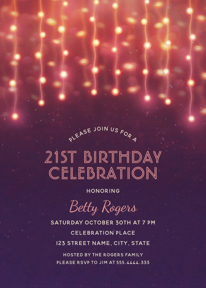 Glitter Lights 21st Birthday Party Invitations - Modern Fun Templates