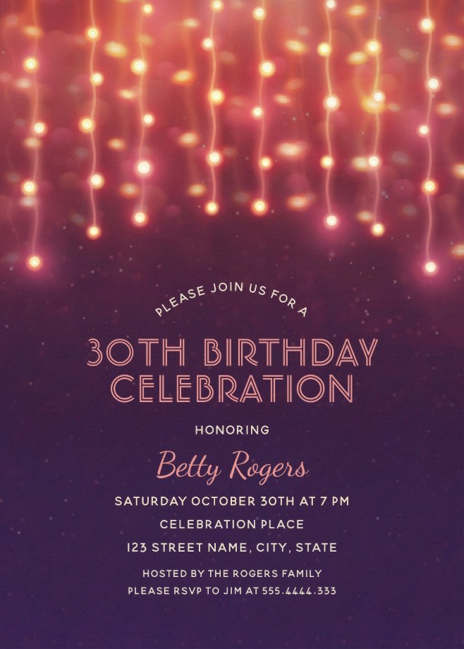 glitter lights 30th birthday party invitations modern fun templates