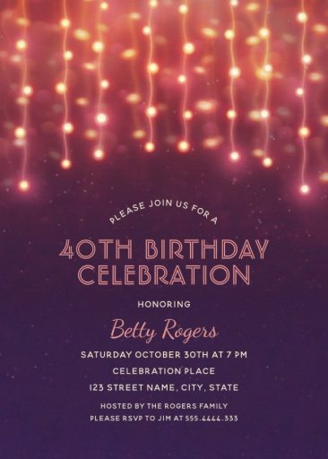 Glitter Lights 40th Birthday Party Invitations - Modern Fun Templates