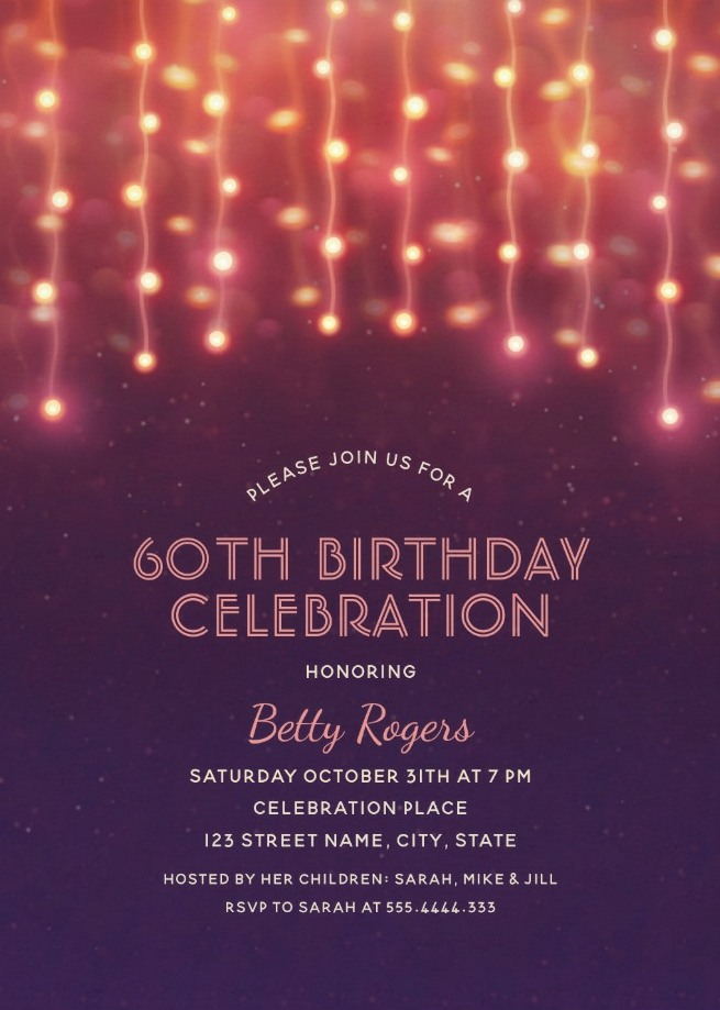 Glitter Lights 60th Birthday Party Invitations