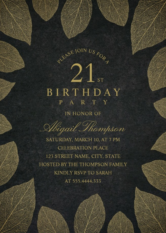 Gold Leaves 21st Birthday Invitations - Elegant Frame Templates