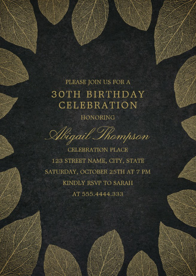 Gold Leaves 30th Birthday Invitations - Elegant Frame Templates