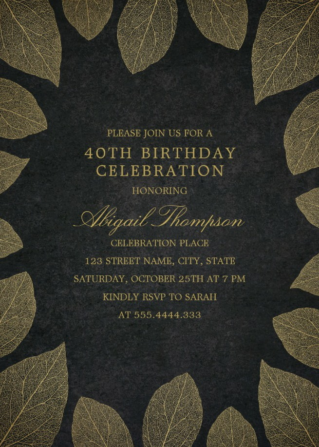 Gold Leaves 40th Birthday Invitations - Elegant Frame Templates