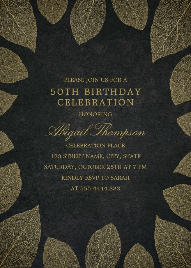 Gold Leaves 50th Birthday Invitations - Elegant Frame Templates