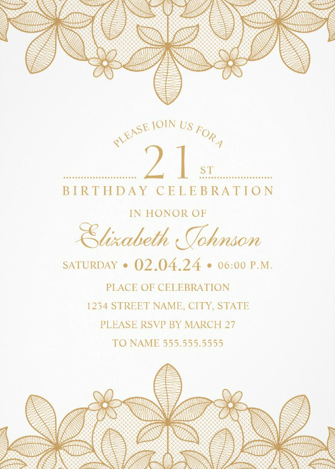 Golden Lace 21st Birthday Invitations