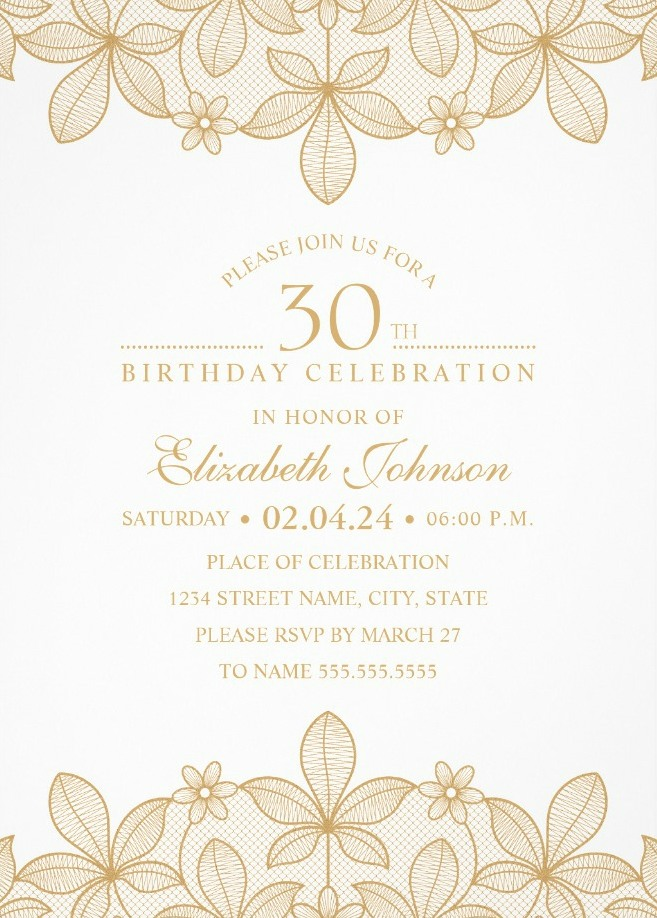 Golden Lace 30th Birthday Invitations - Elegant Luxury Invitation Templates