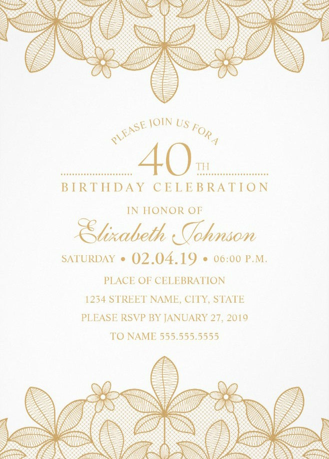 Golden Lace 40th Birthday Invitations Elegant Luxury Invitation