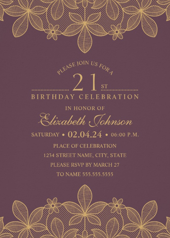 Golden Lace Wine Red 21st Birthday Invitations