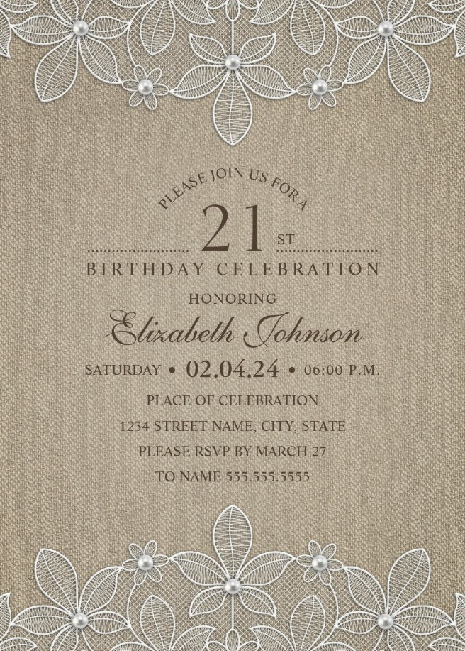 Lace and Pearls Country Burlap 21st Birthday Invitations