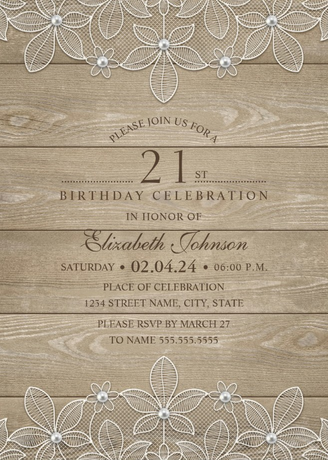 Lace and Pearls Country Wood 21st Birthday Invitations