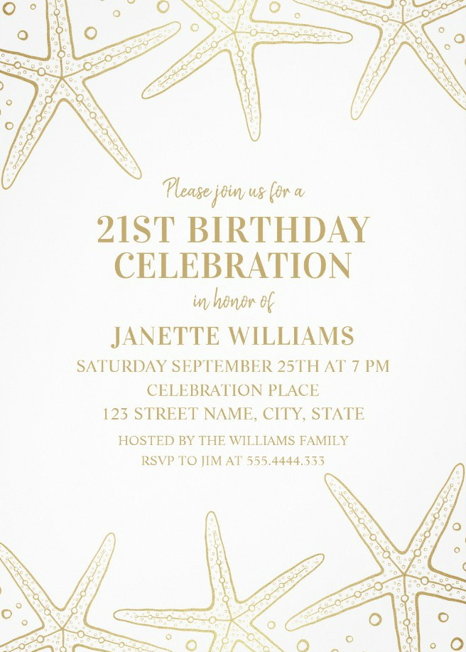 Nautical Adult 21st Birthday Invitations - Golden Starfish Invite Templates
