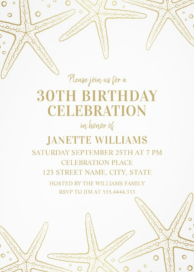 Nautical Adult 30th Birthday Invitations - Golden Starfish Invite Templates