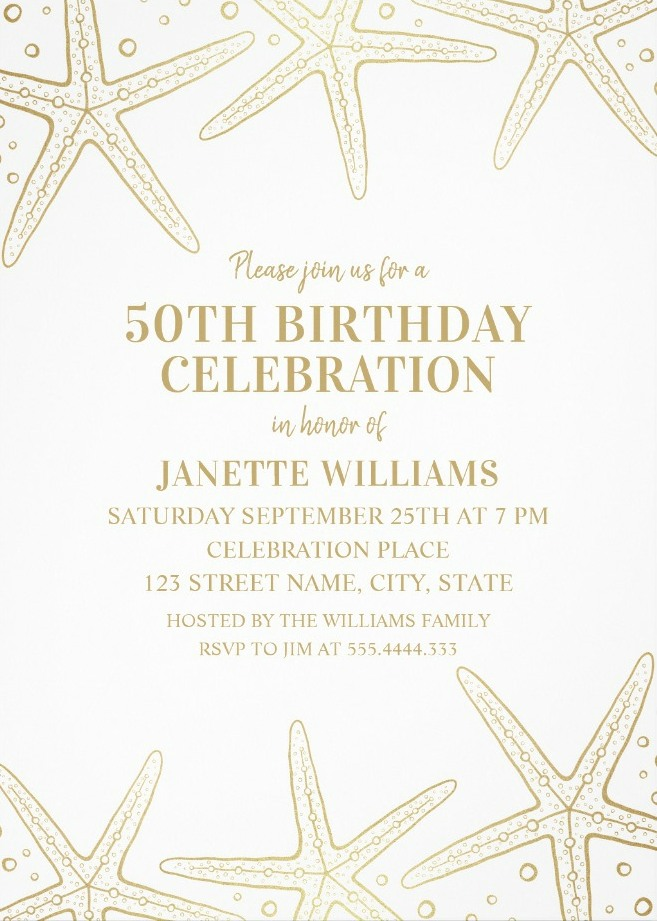 Nautical Adult 50th Birthday Invitations - Golden Starfish Invite Templates