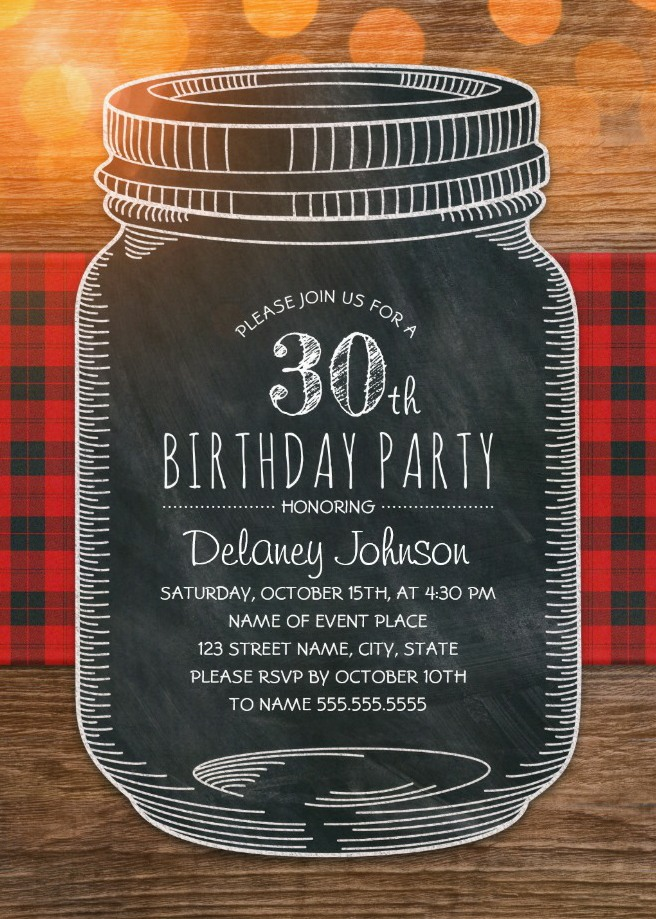 Outdoor 30th Birthday Invitations - Mason Jar Chalkboard Picnic Cloth BBQ