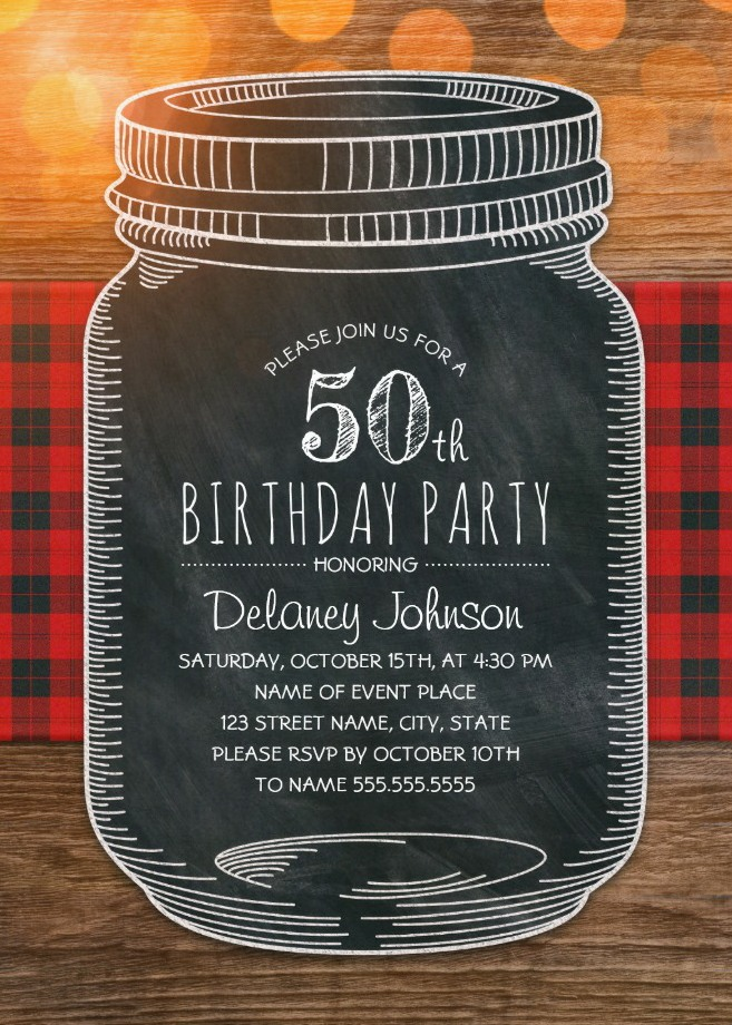 Outdoor 50th Birthday Invitations - Mason Jar Chalkboard Picnic Cloth BBQ