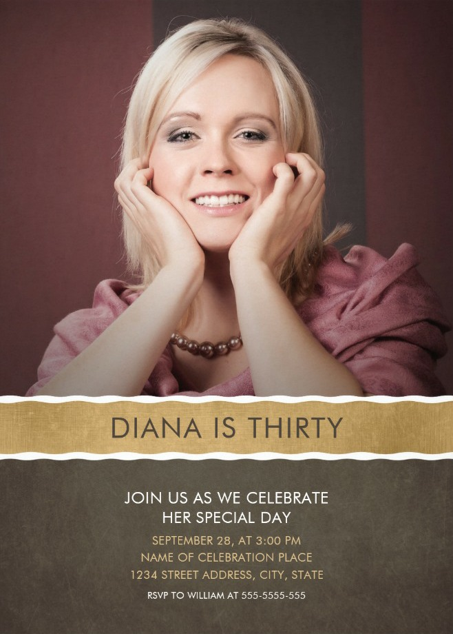 Photo 30th Birthday Party Invitations - Add Your Picture Templates