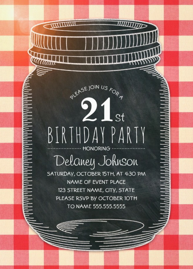 Picnic 21st Birthday Invitations - Mason Jar Chalkboard Outdoor BBQ Invites