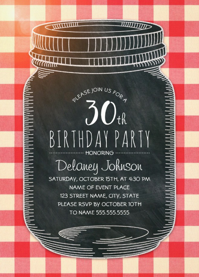 Picnic 30th Birthday Invitations - Mason Jar Chalkboard Outdoor BBQ Invites