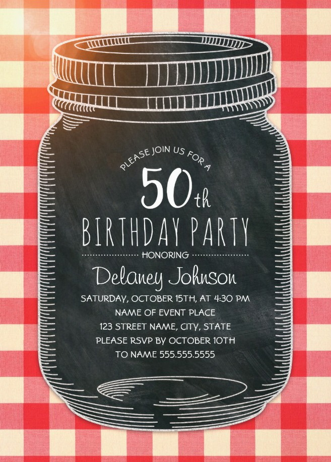 Picnic 50th Birthday Invitations - Mason Jar Chalkboard Outdoor BBQ Invites