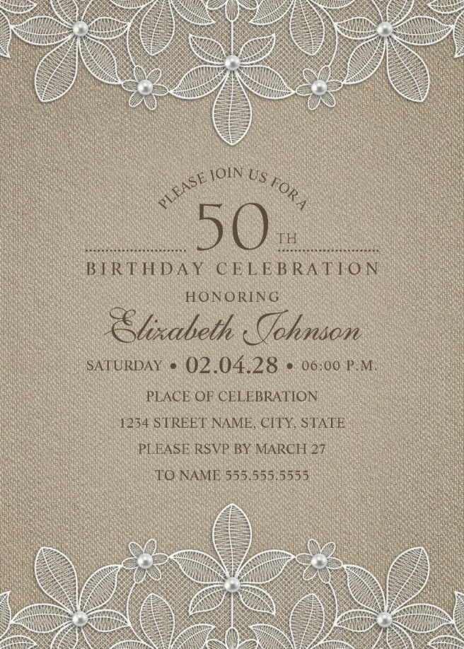Rustic Burlap 50th Birthday Invitations - Lace and Pearls Party Cards