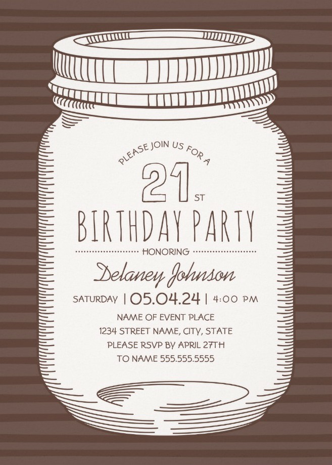 Rustic Mason Jar 21st Birthday Party Invitations – Vintage Country Cards